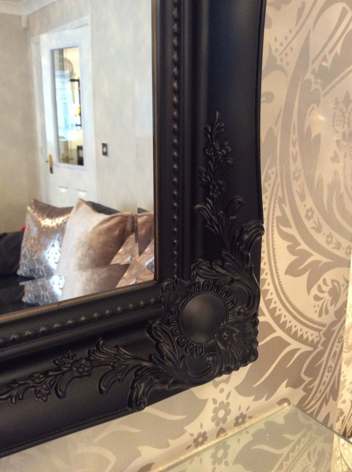 Large Black Stunning Decorative Swept Wall Mirror